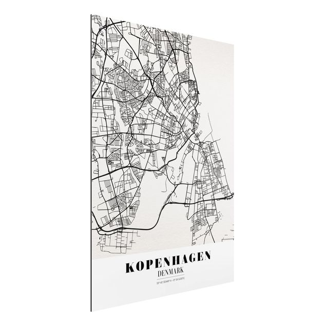 Quadro in alluminio - Copenhagen City Map - Classic