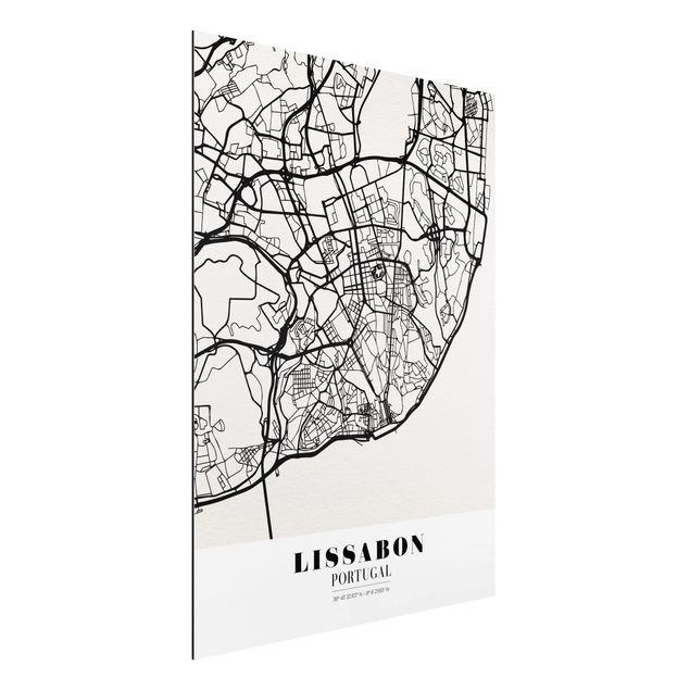 Quadro in alluminio - Lisbon City Map - Classic