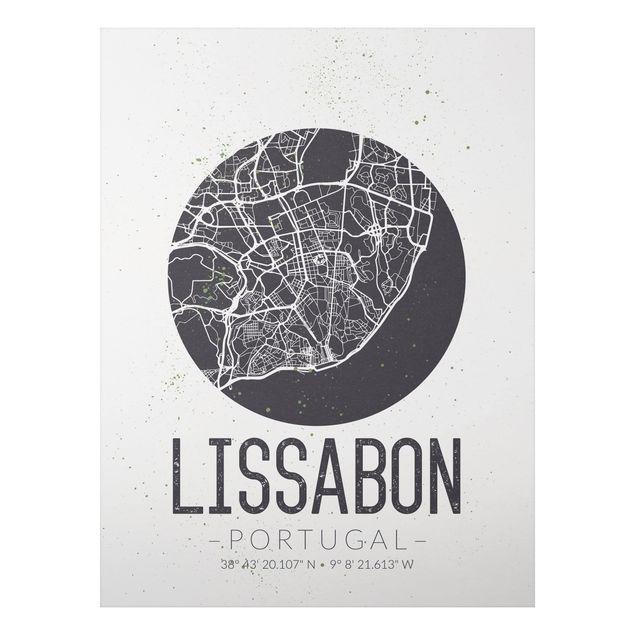 Quadro in alluminio - Lisbon City Map - Retro