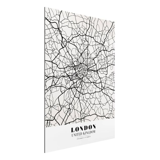 Quadro in alluminio - London City Map - Classic