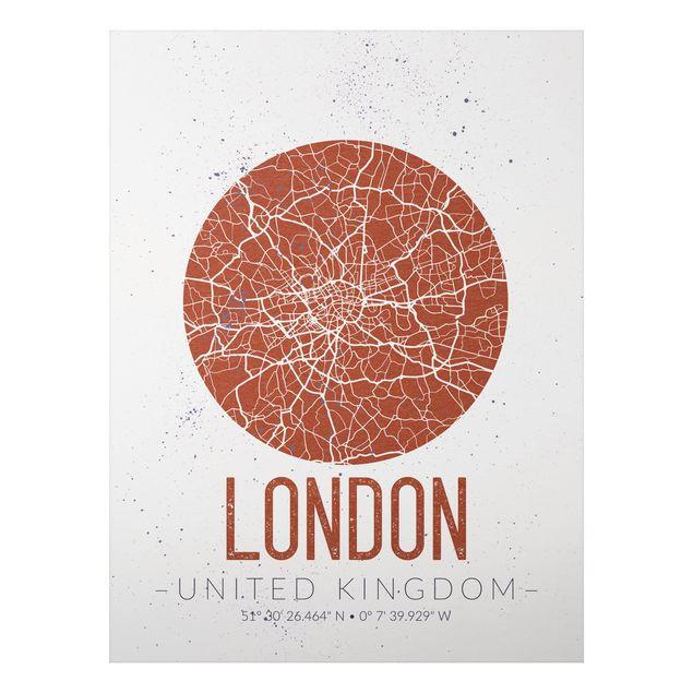 Quadro in alluminio - London City Map - Retro