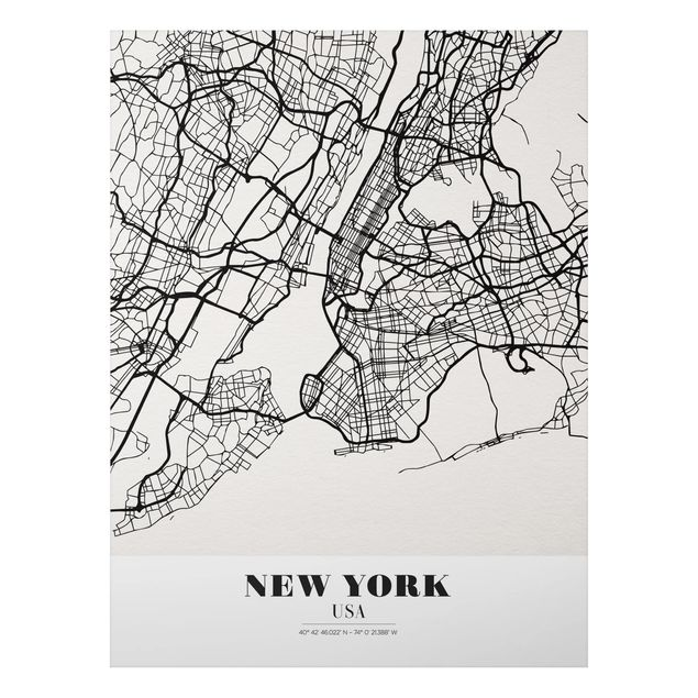 Quadro in alluminio - New York City Map - Classic