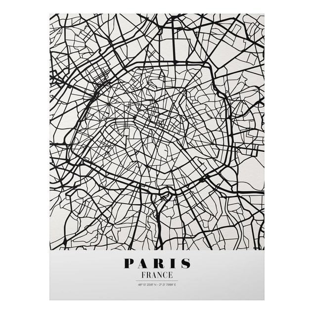 Quadro in alluminio - Paris City Map - Classic