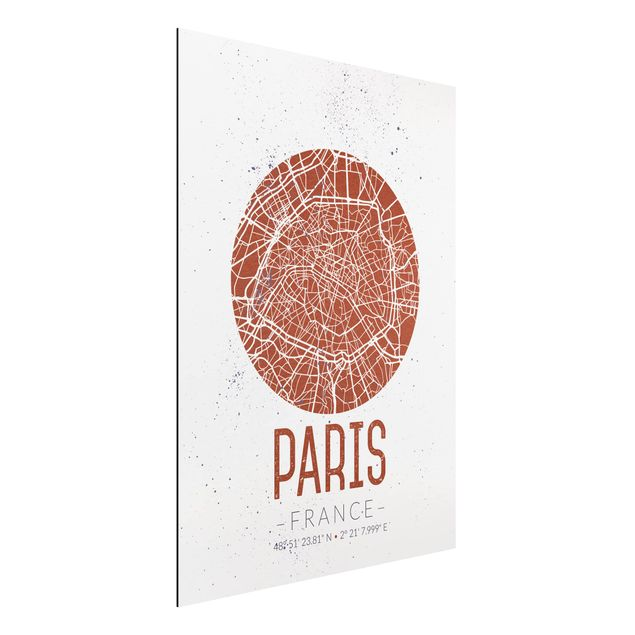 Quadro in alluminio - Paris City Map - Retro