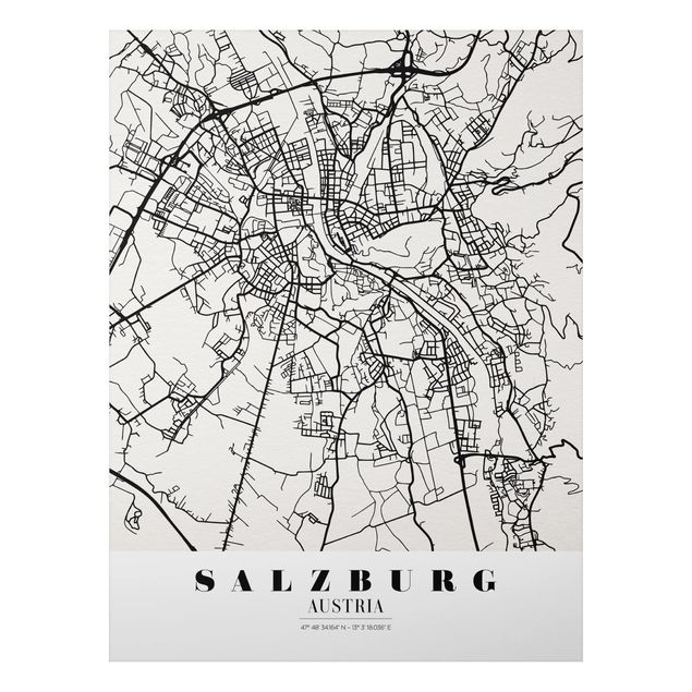 Quadro in alluminio - Salzburg City Map - Classic