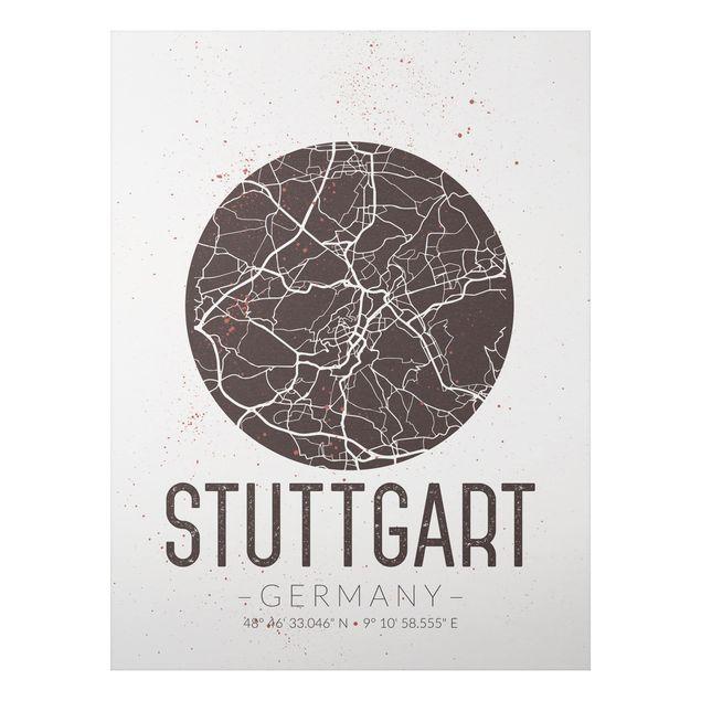 Quadro in alluminio - Stuttgart City Map - Retro