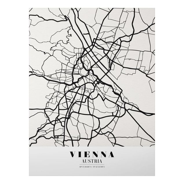 Quadro in alluminio - Vienna City Map - Classic