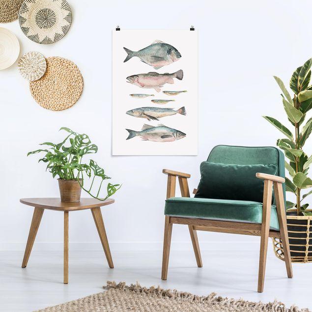 Poster - Sette pesce in acqua di colore II - Verticale 3:2