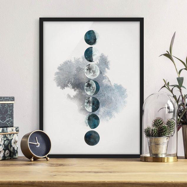 Poster con cornice - The Phases Of The Moon - Verticale 4:3