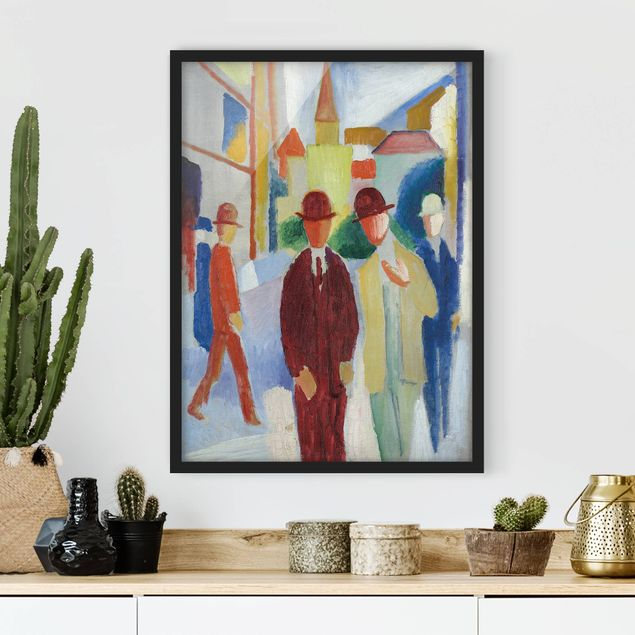 Poster con cornice - August Macke - Bright Street With People - Verticale 4:3