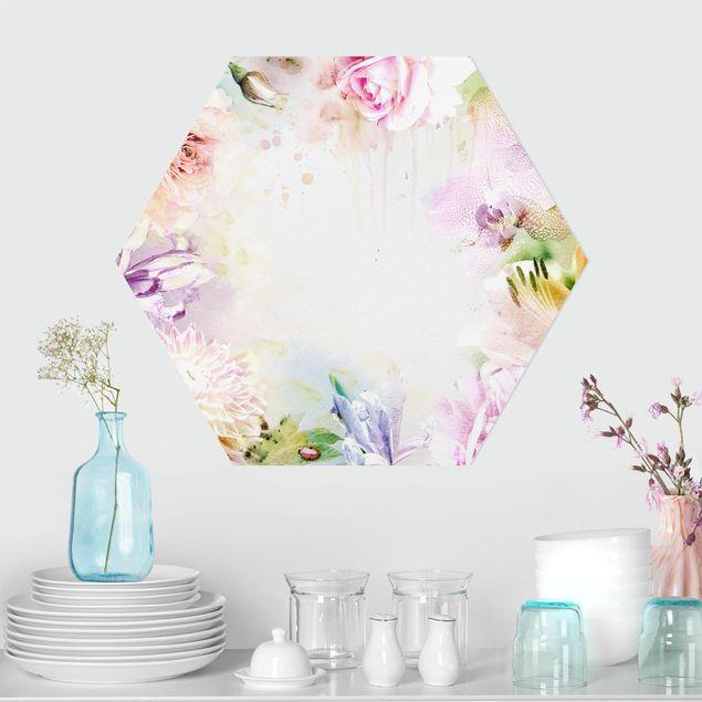 Esagono in forex - Acquerello Pastello Mix di fiori