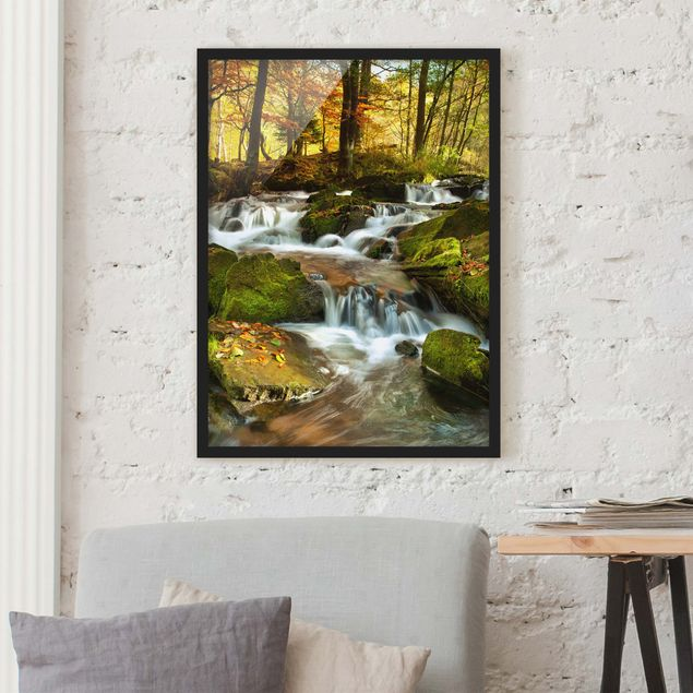 Poster con cornice - Waterfall Autumnal Forest - Verticale 4:3