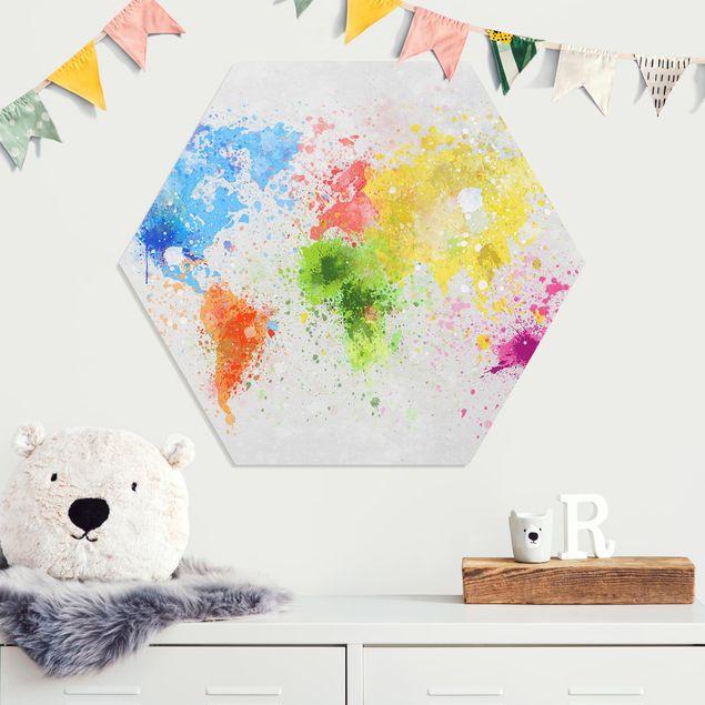 Esagono in forex - Colorful schizzi Mappa del mondo