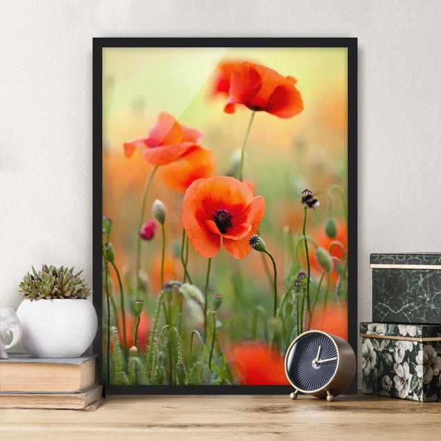 Poster con cornice - Red Summer Poppy - Verticale 4:3