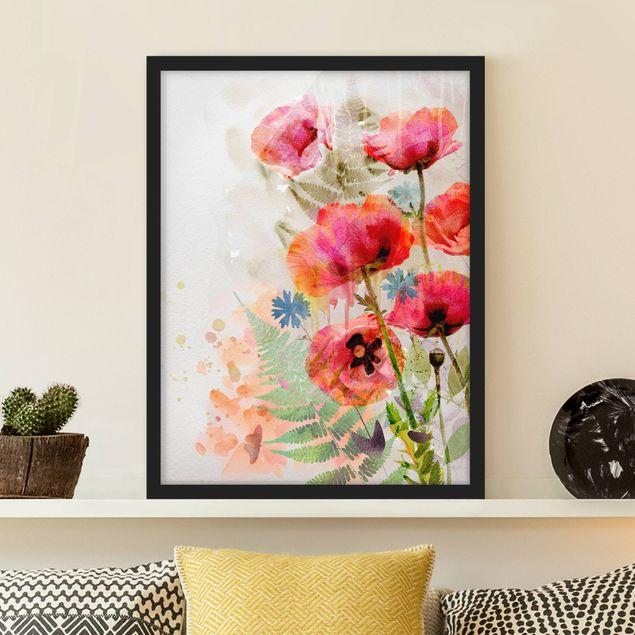 Poster con cornice - Watercolor Poppy Flowers - Verticale 4:3