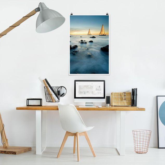 Poster - Barche a vela nel Ocean - Verticale 3:2