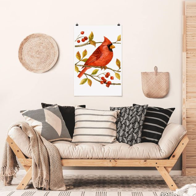 Poster - Uccelli e Bacche - Northern Cardinal - Verticale 3:2