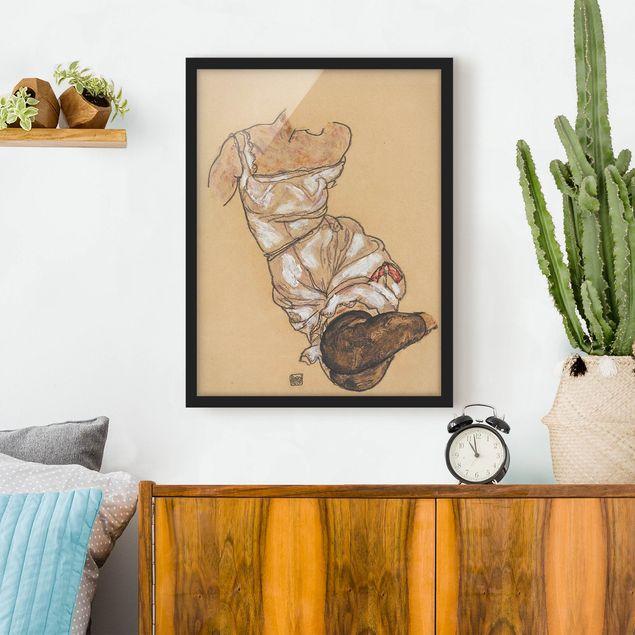 Poster con cornice - Egon Schiele - Female Torso In Underwear And Black Stockings - Verticale 4:3