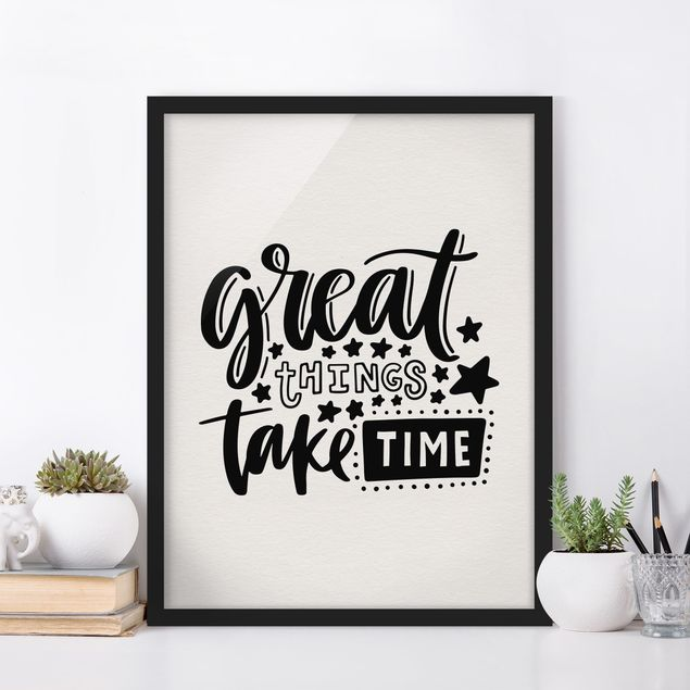 Poster con cornice - Great Things Take Time - Verticale 4:3