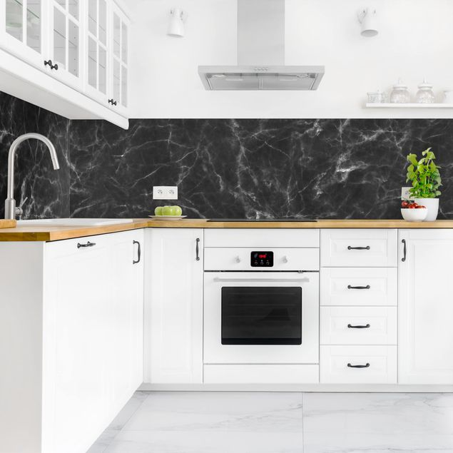 Rivestimento Cucina Marmo Nero Carrara