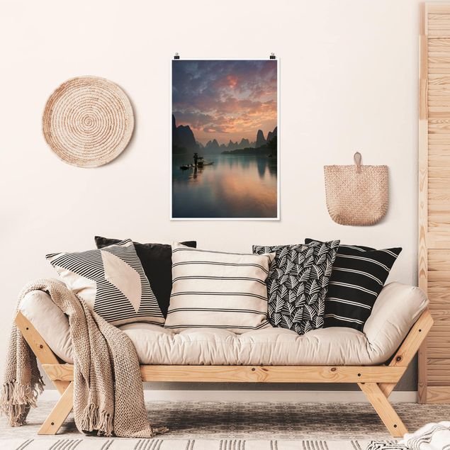 Poster - Alba sul fiume cinese - Verticale 3:2