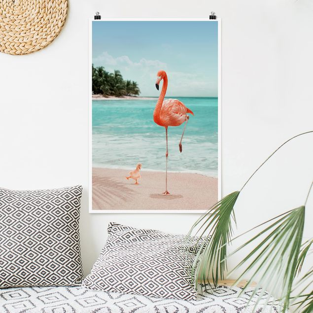 Poster - Jonas Loose - Spiaggia Con Flamingo - Verticale 3:2
