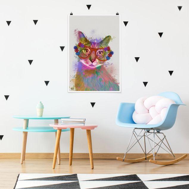 Poster - Arcobaleno Splash Cat - Verticale 3:2