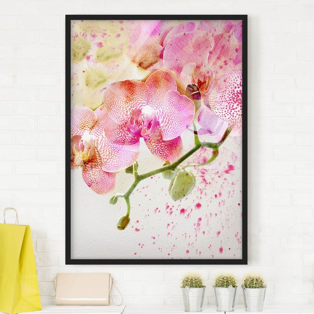 Poster con cornice - Watercolor Flowers Orchids - Verticale 4:3
