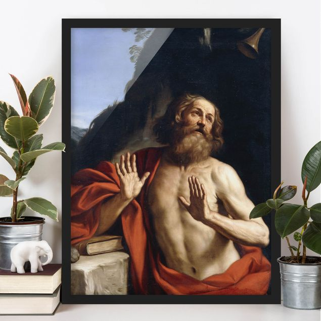 Poster con cornice - Guercino - Saint Jerome In The Wilderness - Verticale 4:3