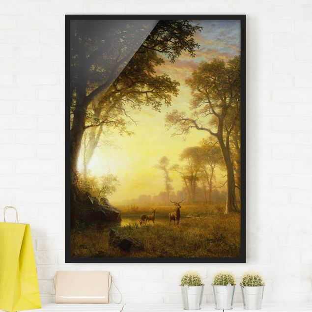 Poster con cornice - Albert Bierstadt - Light In The Forest - Verticale 4:3