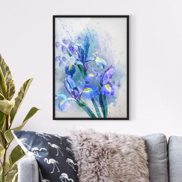 Poster con cornice - Watercolor Flowers Iris - Verticale 4:3