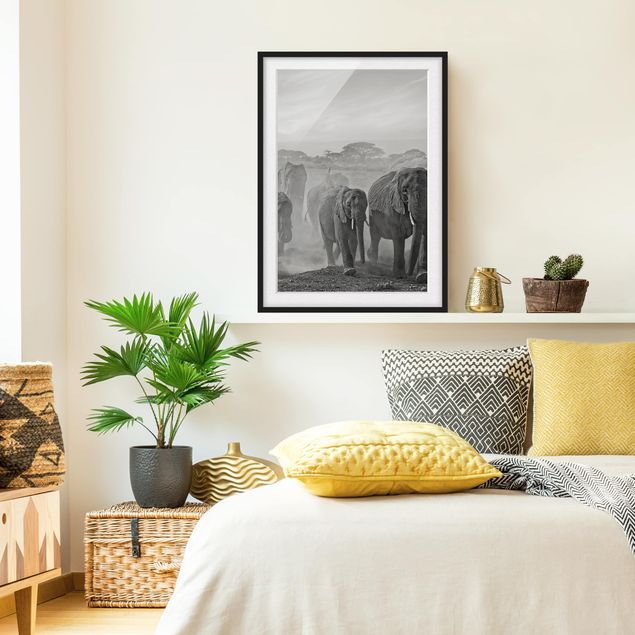 Poster con cornice - Herd Of Elephants - Verticale 4:3