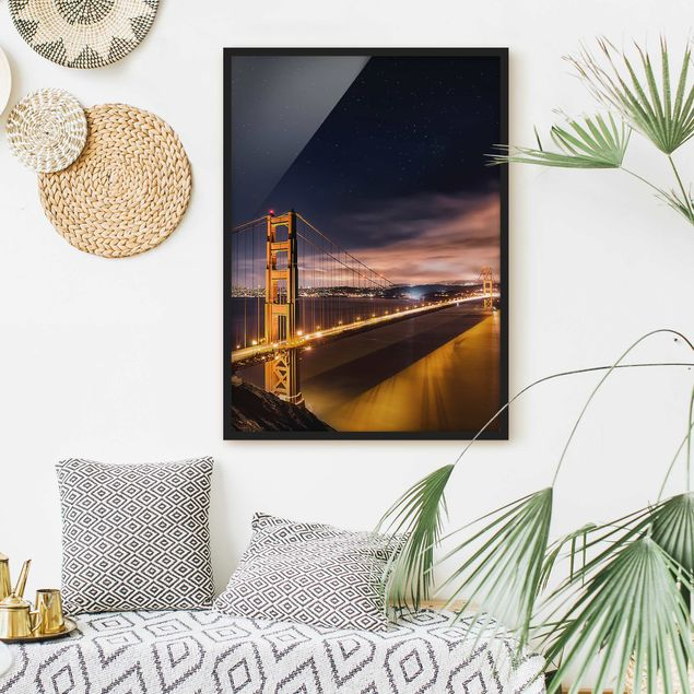 Poster con cornice - Golden Gate To Stars - Verticale 4:3