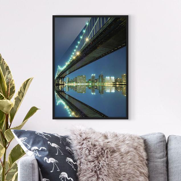 Poster con cornice - Abstract Manhattan Bridge - Verticale 4:3