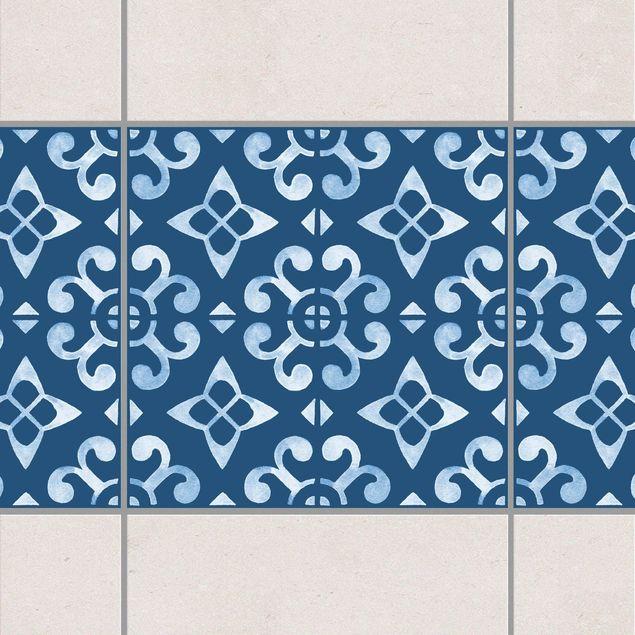 Adesivo per piastrelle - Dark Blue White Pattern Series No.05