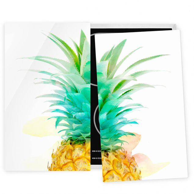 Coprifornelli in vetro - Pineapple Watercolor - 52x60cm