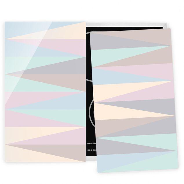 Coprifornelli in vetro - Triangles In Pastel Colors