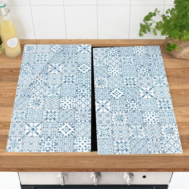 Coprifornelli in vetro - Pattern Tiles Blue White