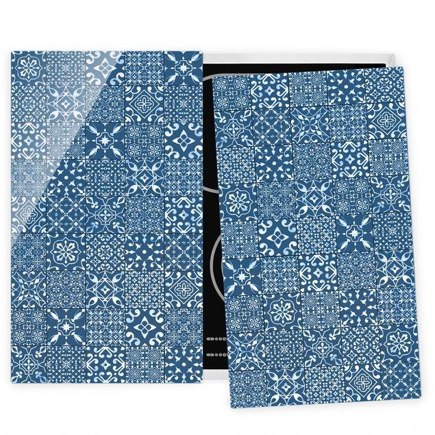 Coprifornelli in vetro - Pattern Tiles Navy White