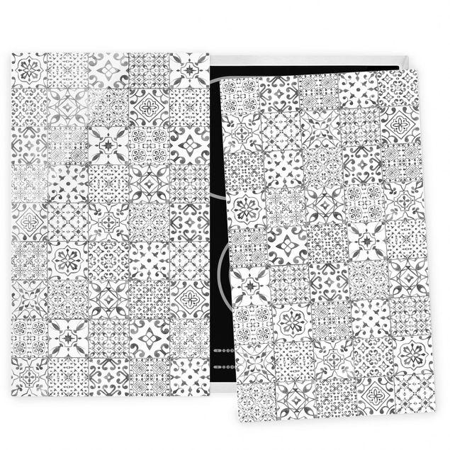 Coprifornelli in vetro - Pattern Tiles Gray White