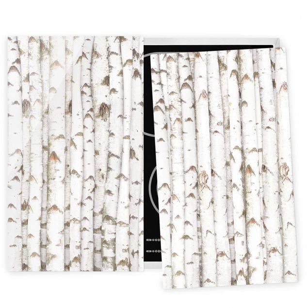Coprifornelli in vetro - No.Yk15 Birch Wall - 52x60cm