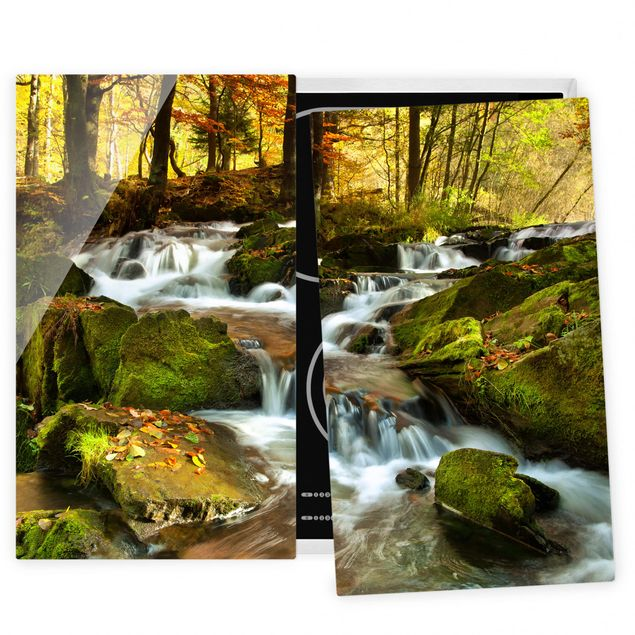 Coprifornelli in vetro - Waterfall Autumnal Forest - 52x60cm