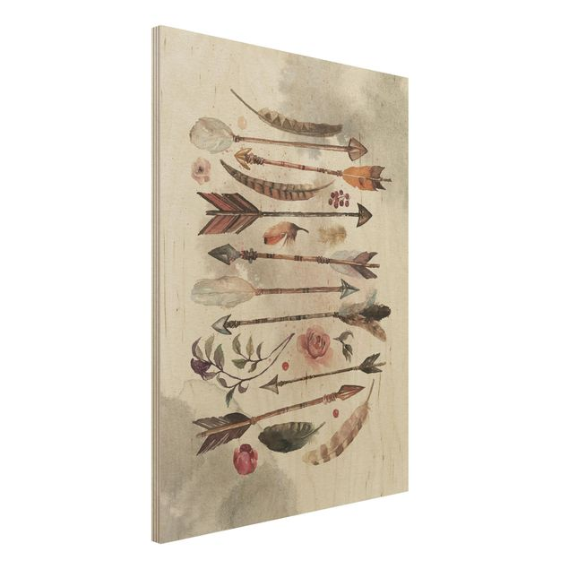 Quadro in legno - Boho Arrows And Feathers - Watercolor- Verticale 3:4