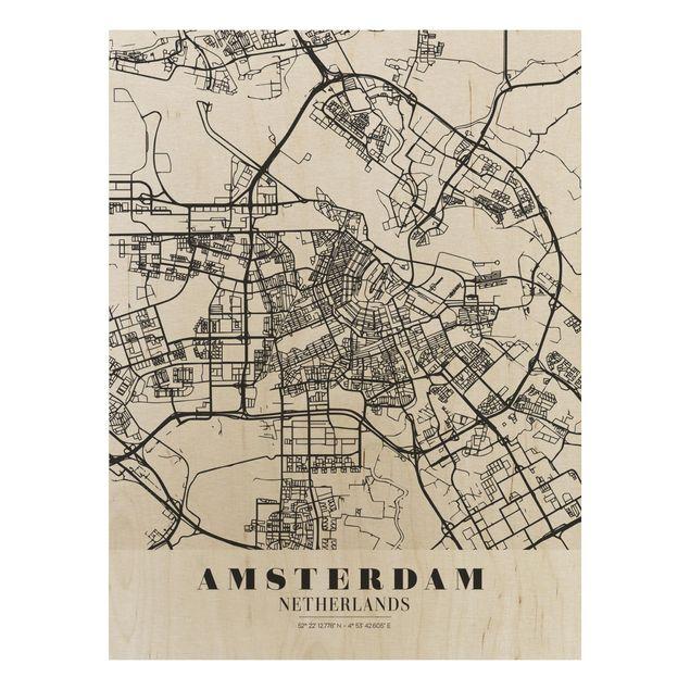 Quadro in legno - Amsterdam City Map - Classic- Verticale 3:4