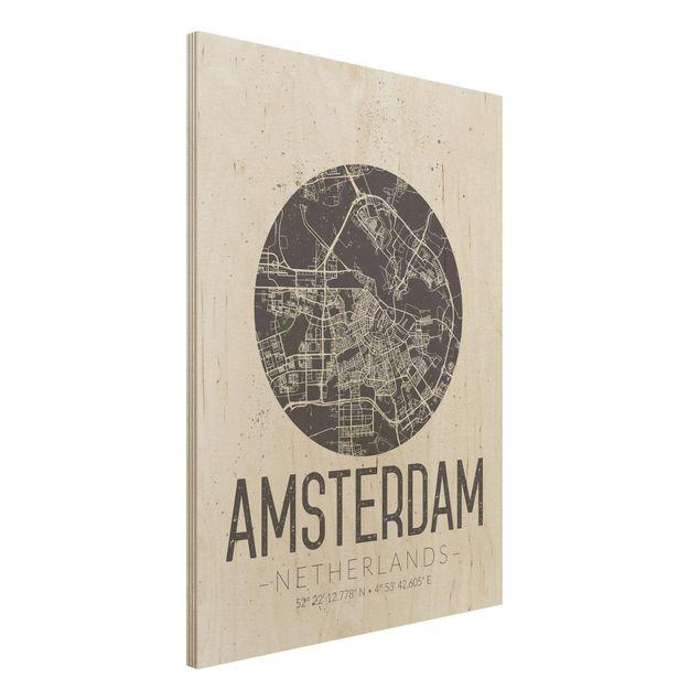 Quadro in legno - Amsterdam City Map - Retro- Verticale 3:4