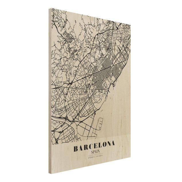 Quadro in legno - Barcelona City Map - Classic- Verticale 3:4
