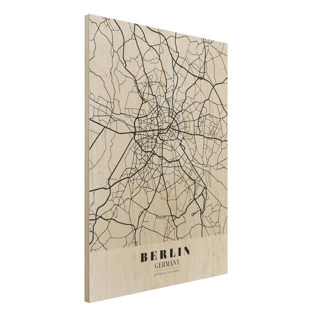 Quadro in legno - Berlin City Map - Classic- Verticale 3:4