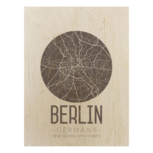Quadro in legno - Berlin City Map - Retro- Verticale 3:4