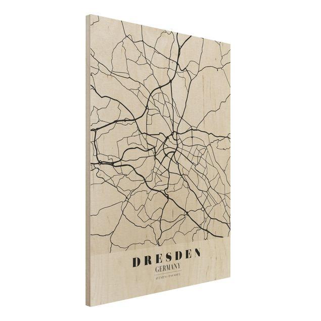 Quadro in legno - Dresden City Map - Classical- Verticale 3:4