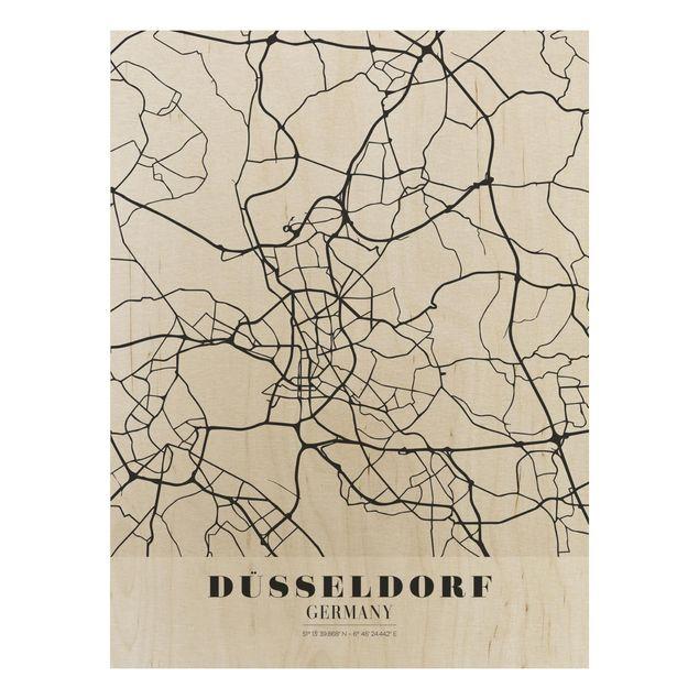 Quadro in legno - Dusseldorf City Map - Classic- Verticale 3:4